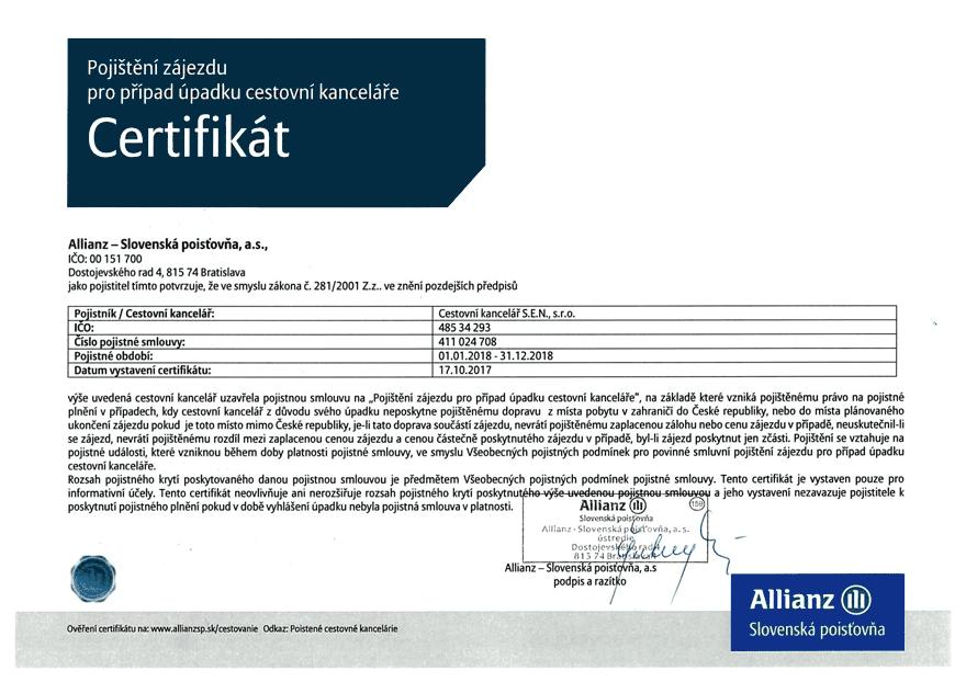 Pojištění CK - Certifikát
