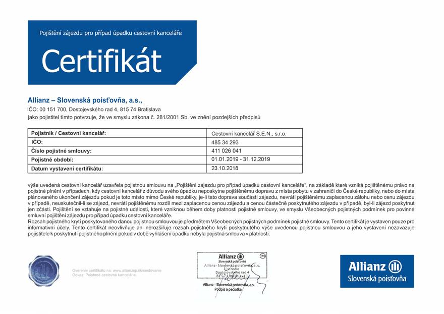Pojištění CK - Certifikát 2019