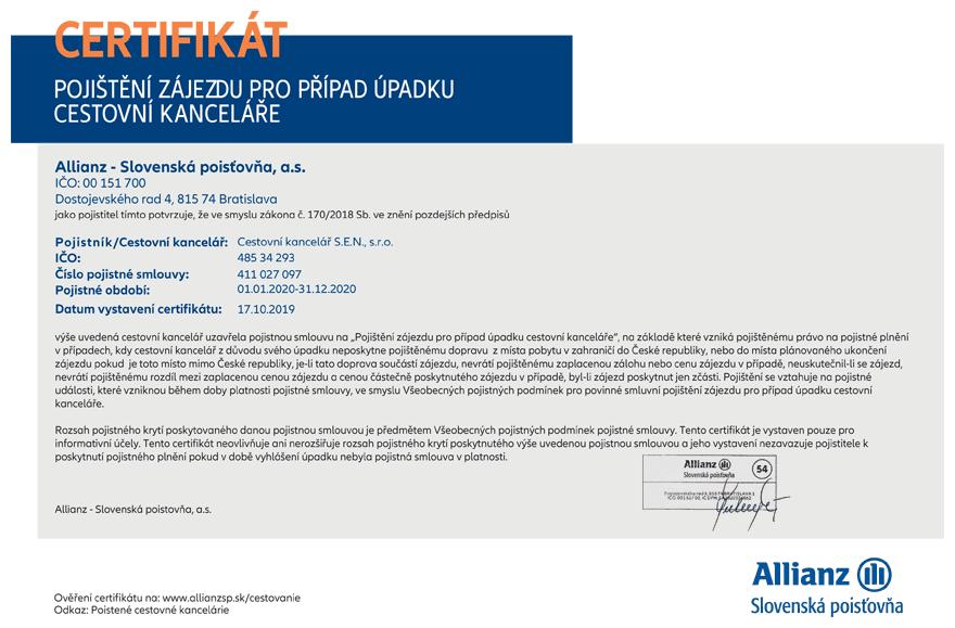 Pojištění CK - Certifikát 2020