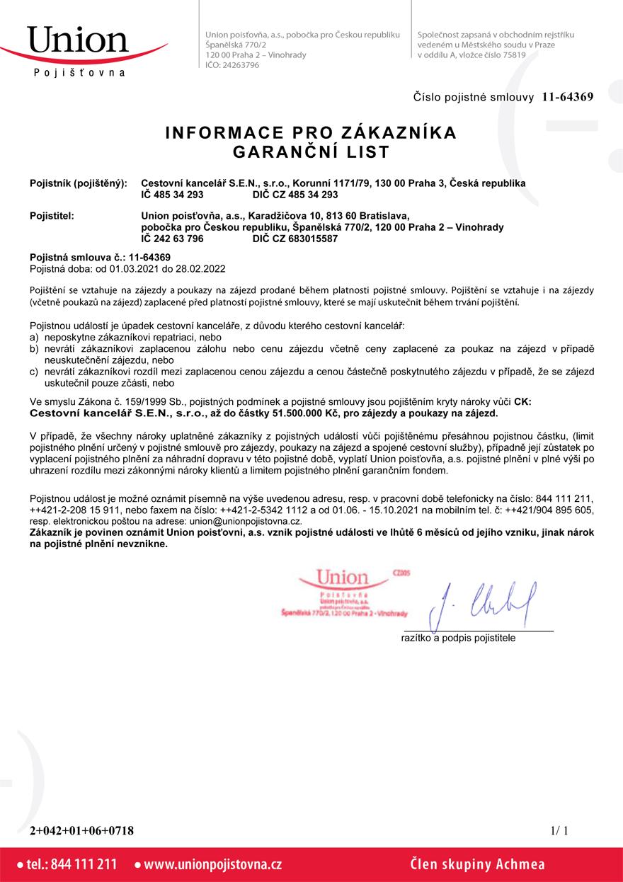 Pojištění CK - Certifikát 2021