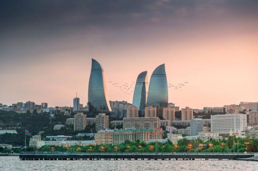 Pohled na panorama města Baku