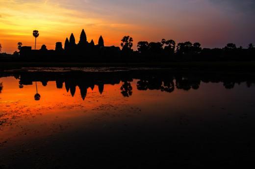Západ slunce v Kambodži