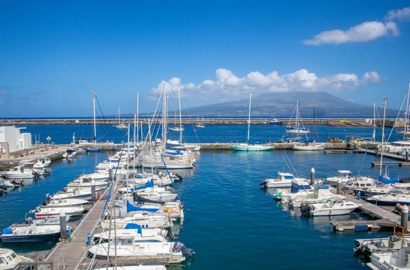 Pohled na jachtový přístav se sopkou Pico v pozadí.