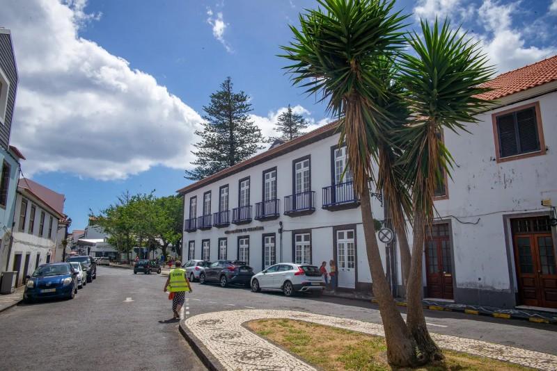 Ulice ve městě Horta s domy a auty.
