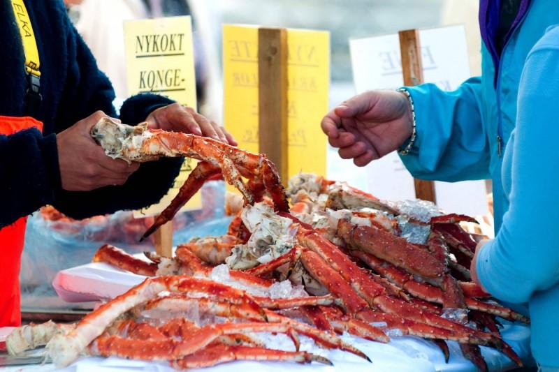 Královští kraby na trhu.