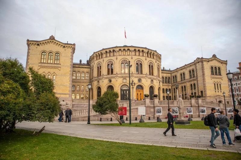 Budova norského parlamentu Storting.