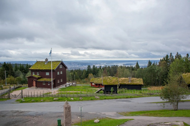 Malé domky se střechou porostlou trávou a panorama města za nimi.