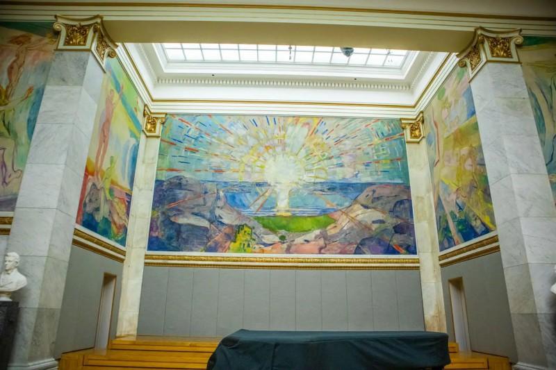 Vystavený obraz známého malíře Muncha.