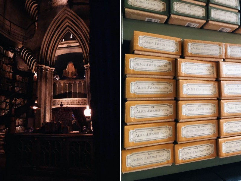 Albus Dumbledore v pracovně a jeho kouzelné hůlky v obchodě