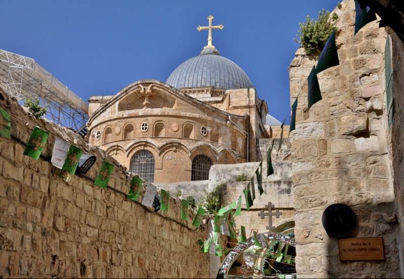 Chrám božího hrobu na konci Křížové cesty Via Dolorosa