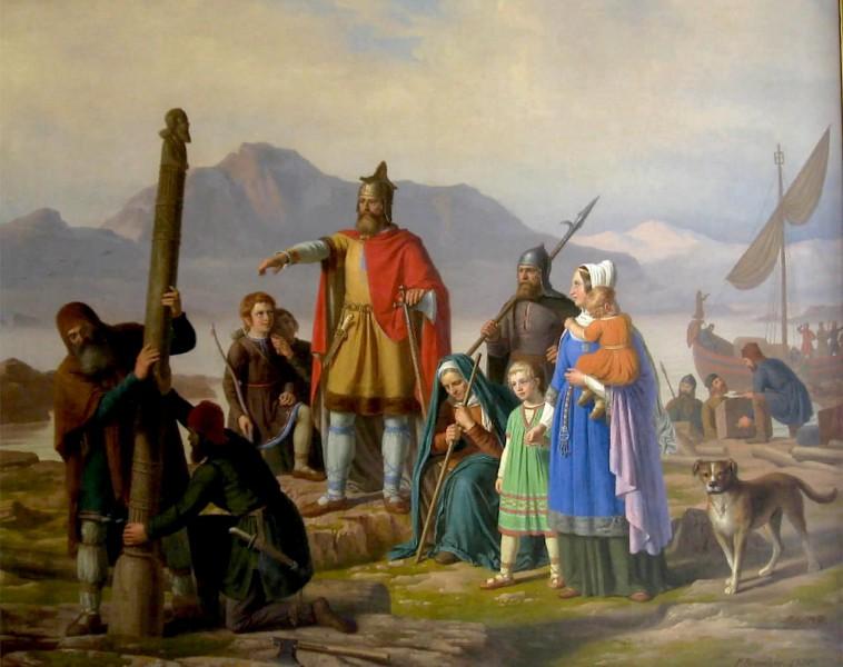 Historický obraz, zobrazující první osadníky Islandu.