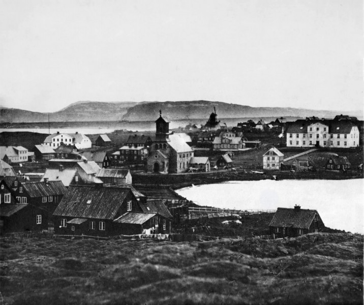 Pohled na původní Reykjavík, kdy měl ještě jen pár budov.