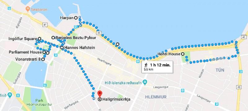 Mapa našeho okruhu po městě.