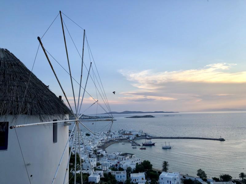 Pohled na město Mykonos, Řecko