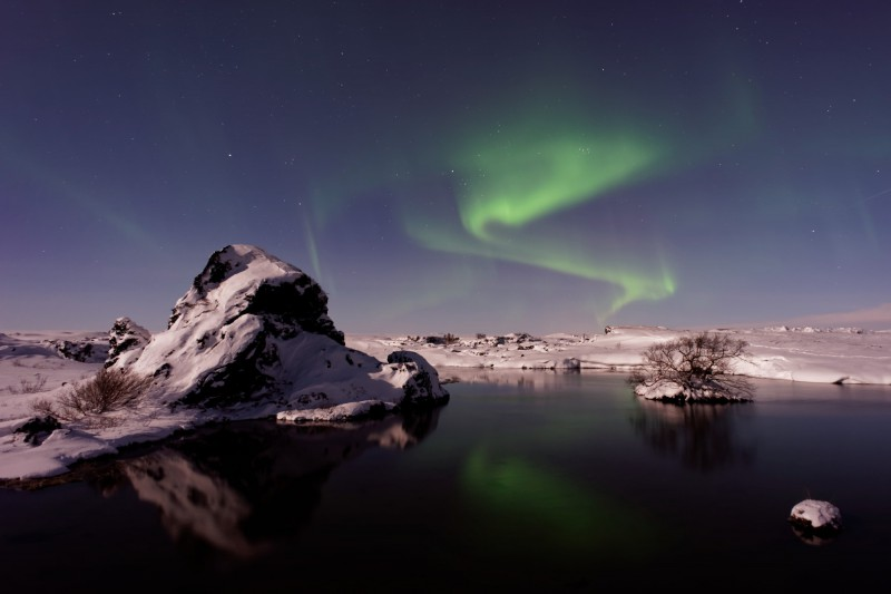 Polární záře v Mývatn, Island