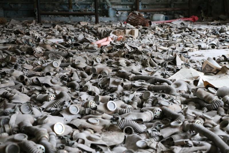 Množství plynových masek v Pripjati