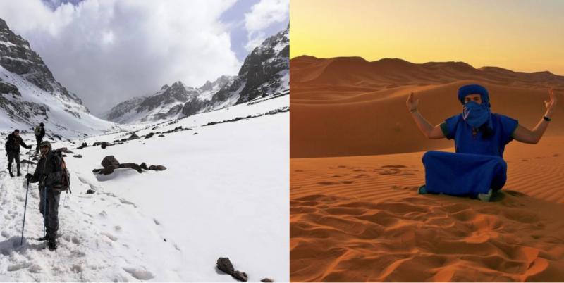 Kontrasty v Maroku - zasnežená hora a největší poušť světa