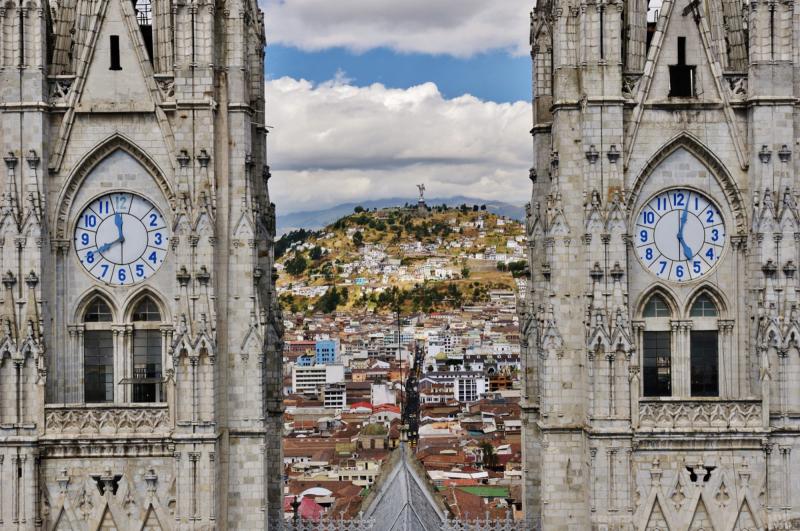 Pohled na Quito v Ekvádoru