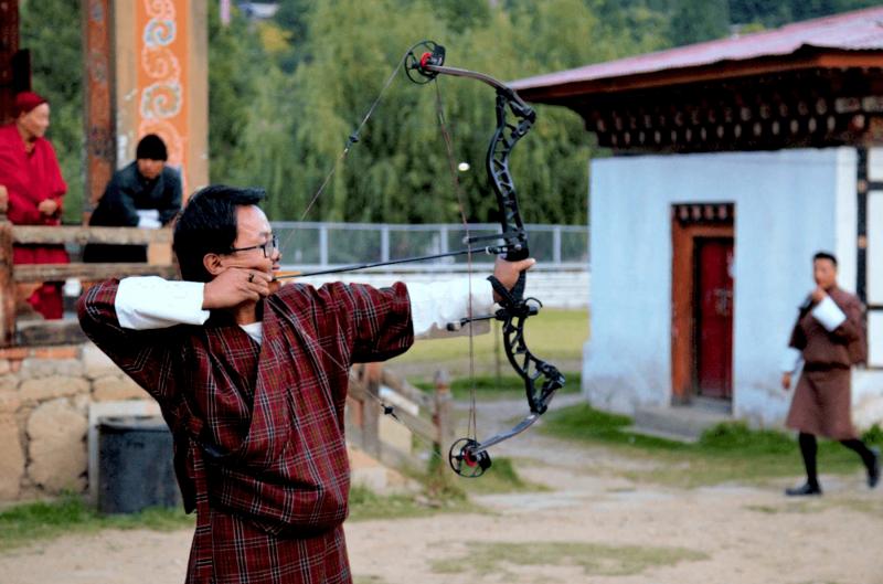 Národní sport střelba z luku při centru Thimpu