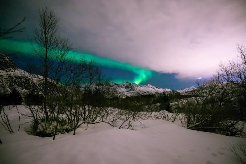 Polární záře v Svolvær, Norsko
