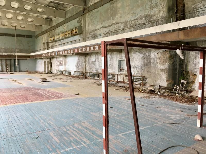 Telocvična ve škole v Pripjati