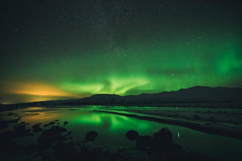 Polární záře v Thórsmörk, Island