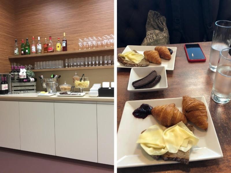 Občerstvení v salonku na letišti Vídeň.