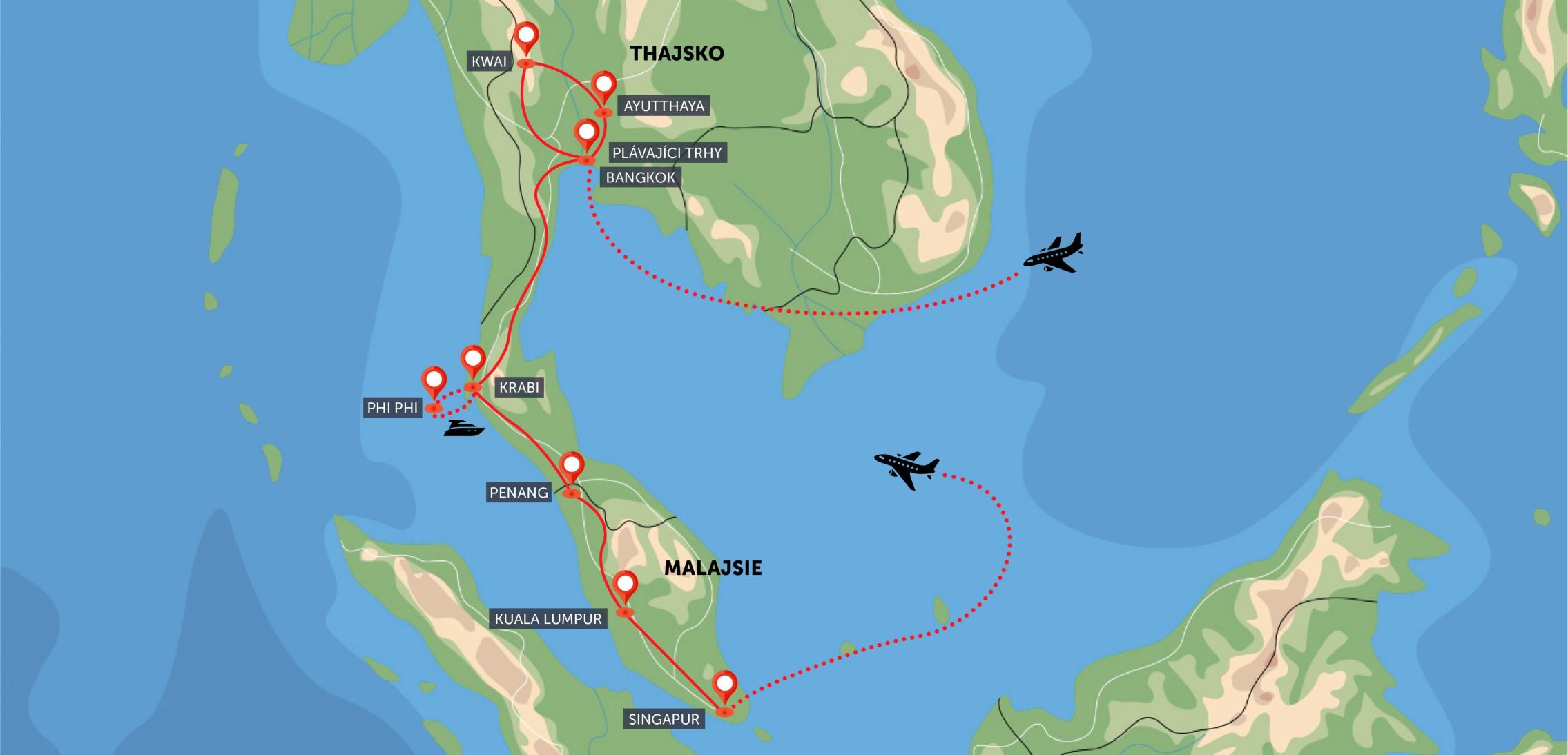 Thajsko, Malajsie, Singapur