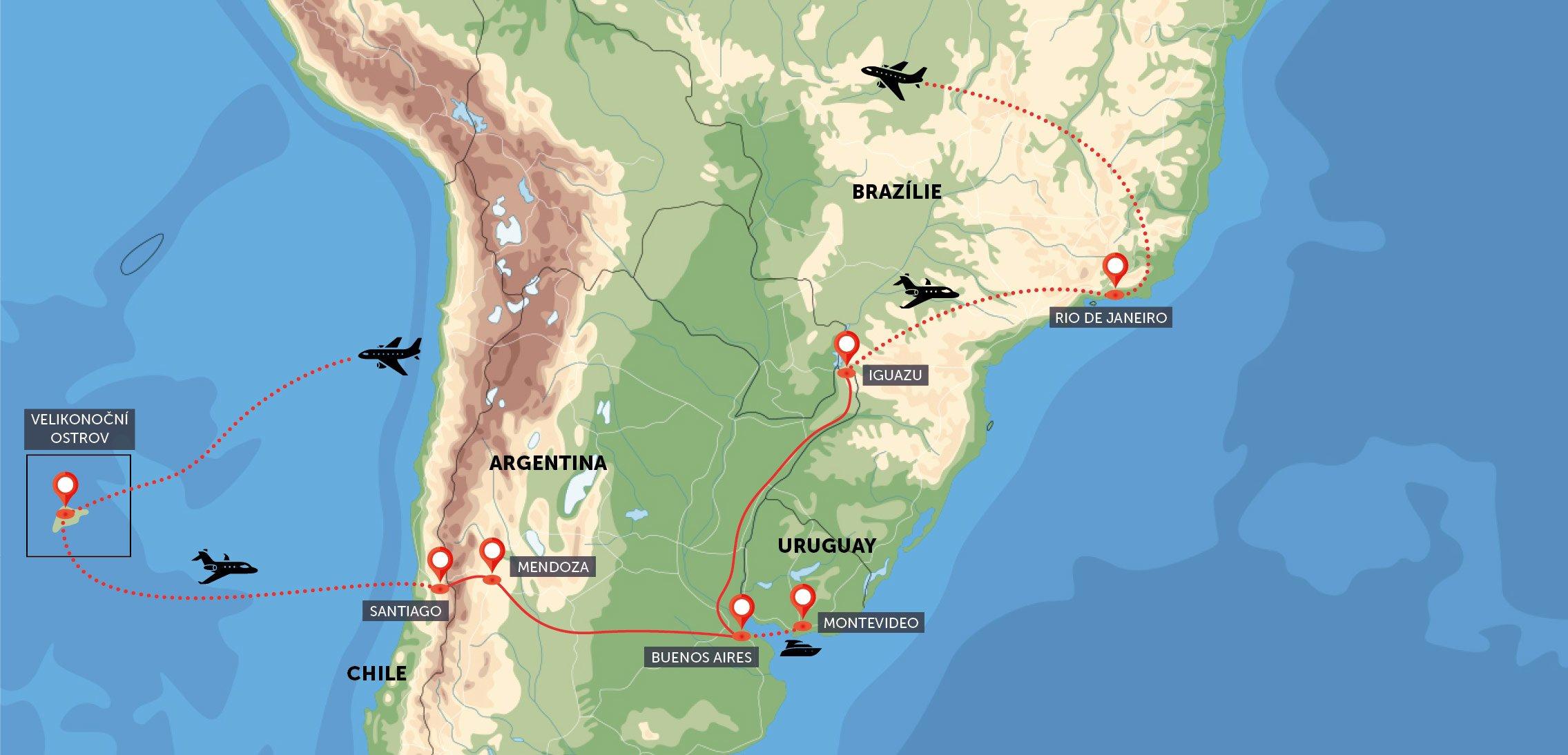 Velikonoční ostrov, Chile, Argentina, Brazílie, Uruguay