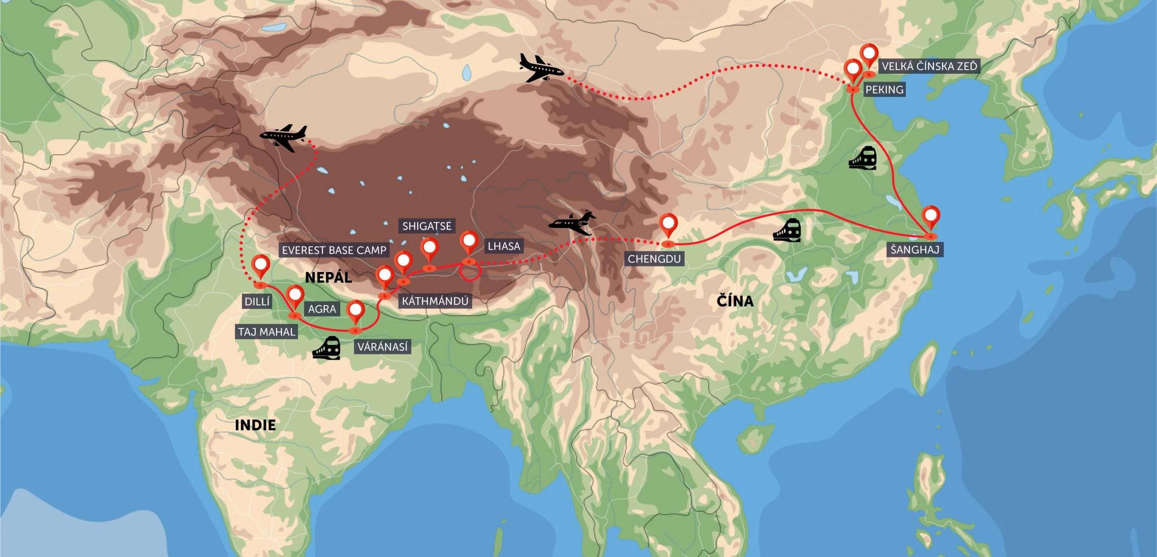 Čína, Tibet, Nepál, Indie