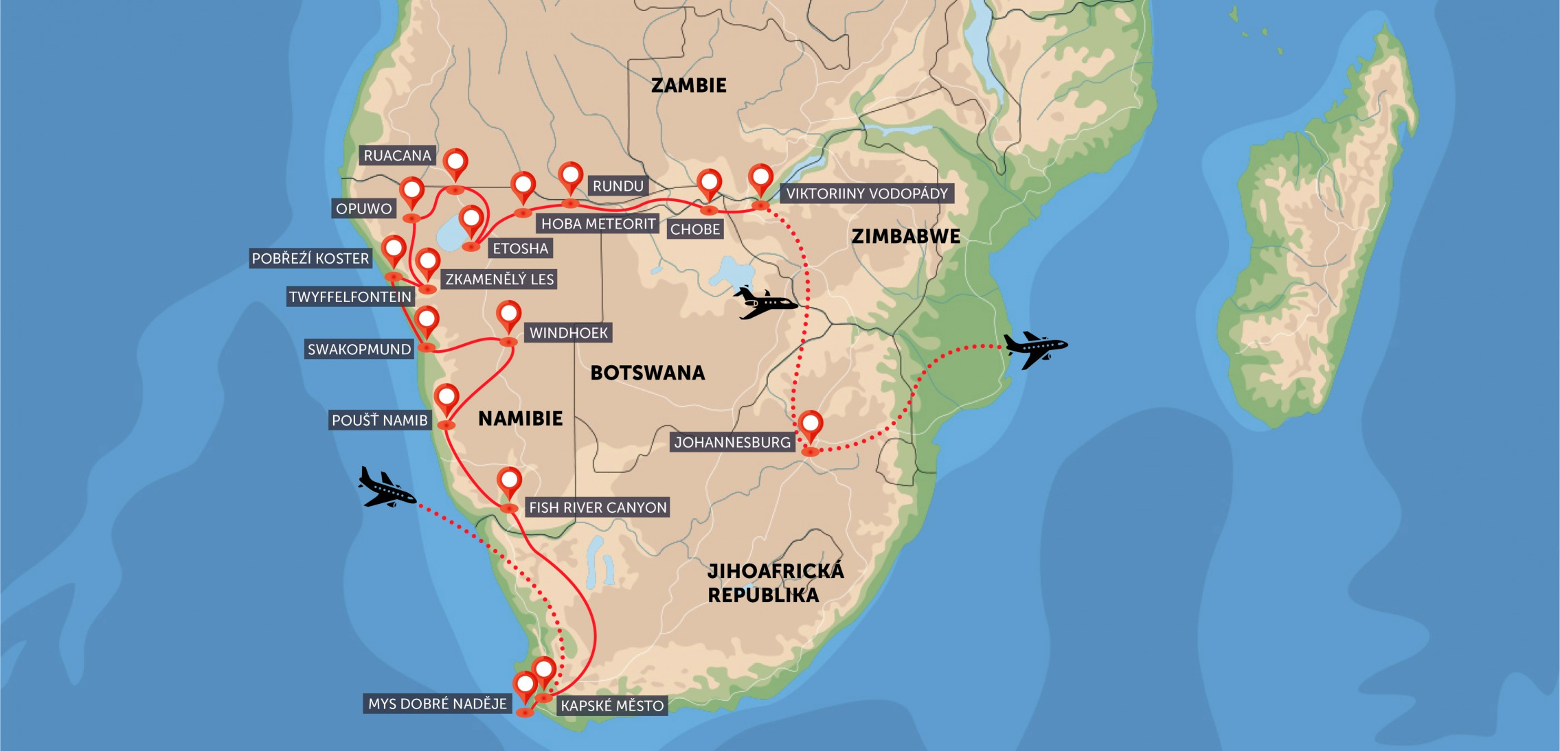 JAR, Namibie, Botswana, Zimbabwe, Zambie
