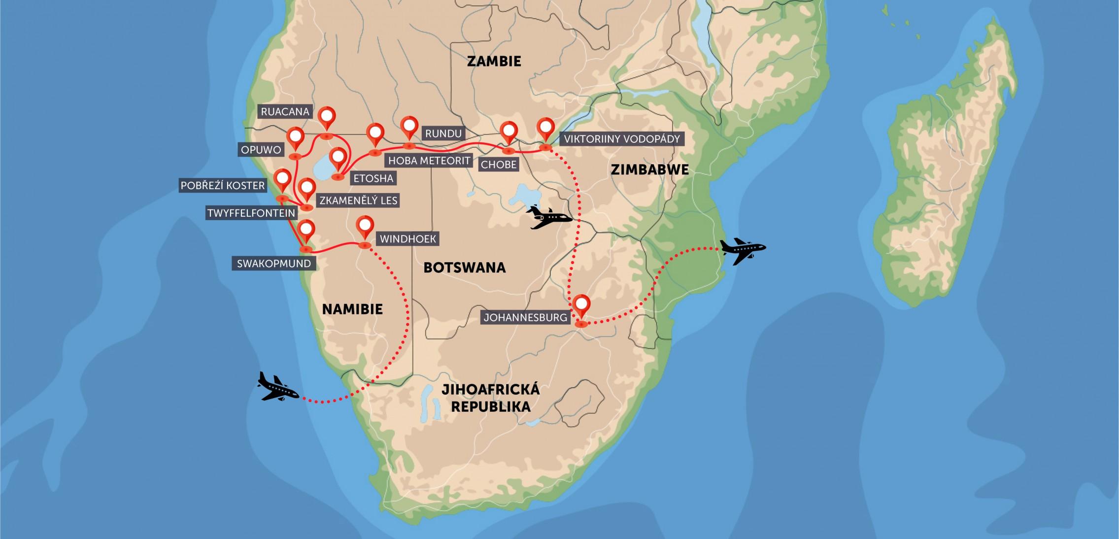 Namibie, Botswana, Zimbabwe, Zambie