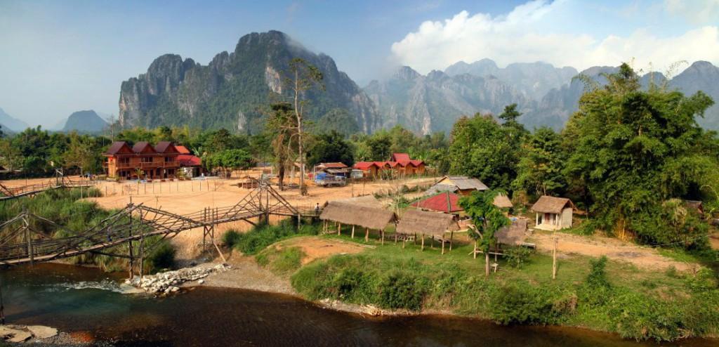 Příroda laoského venkova v oblasti Vang Vieng